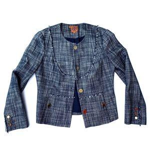 Tory Burch   Women's Navy Tweed Blazer Jacket